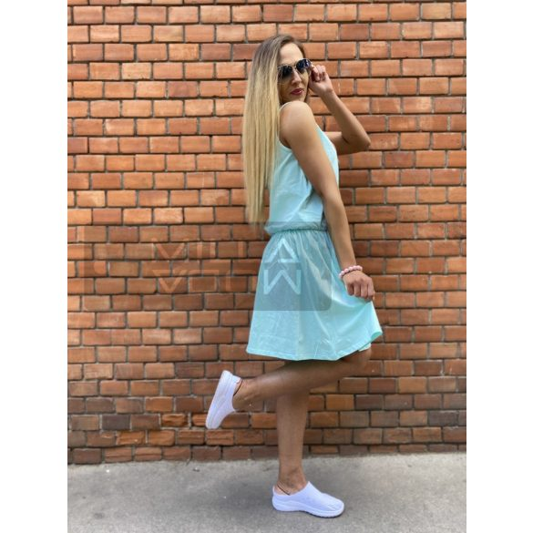 Simple derékban gumis pamut ruha-menta