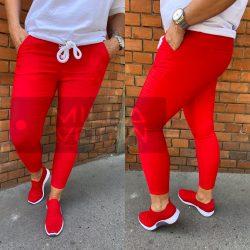 Kairó elasztikus vászon nadrágNagyméret-piros
