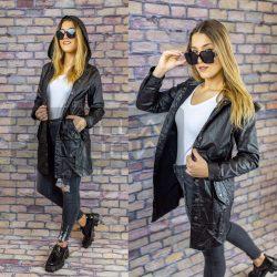 Edina bőrhatású megköthető kapucnis dzseki-fekete