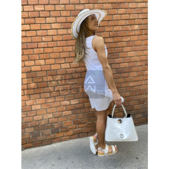 Janka strasszos pamut ruha-fehér