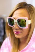 Summer nagy kocka napszemüveg pamut tokkal-púder