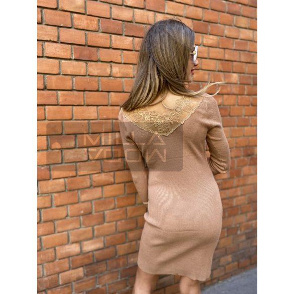 Enzoria csipkés hátú kötött ruha-barna