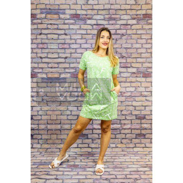 Ferial mintás zsebes pamut ruha-zöld
