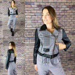Antonietta bőrhatású ujjú kockás dzseki-Piros