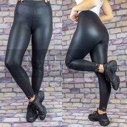BLU gumis derekú elasztikus csipkés aljú leggings-fekete 501