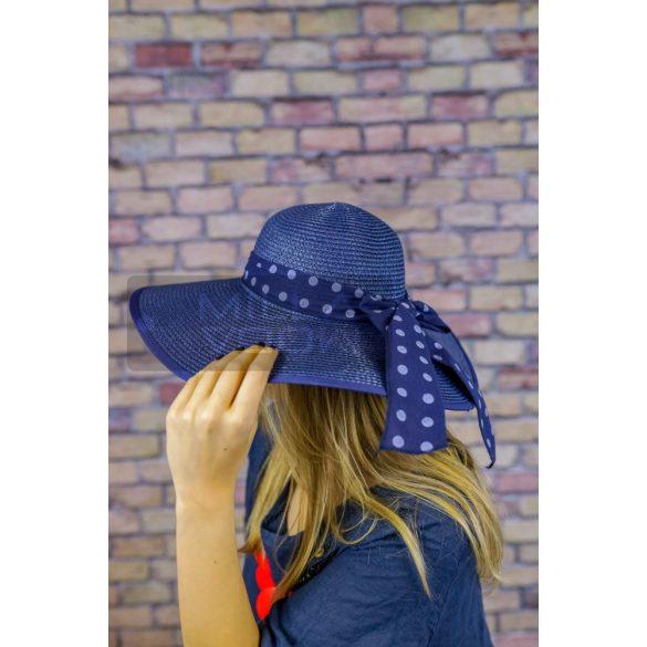 Sarolta nyári kalap pöttyös szalaggal-sötétkék
