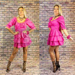 Alice gumis hátú masnis puffos ujjú ruha-pink