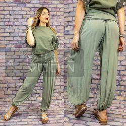 Ankara gumis derekú vékony viszkóz laza nadrág-khaki zöld