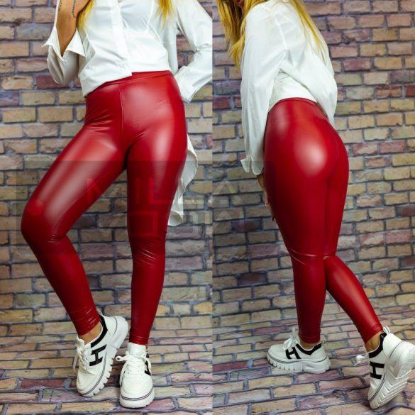 Ibiza elasztikus bőrhatású leggings-piros