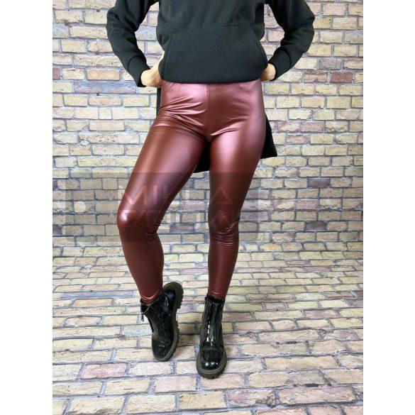 Luna bőrhatású fényes leggings-Bordó GG-99952