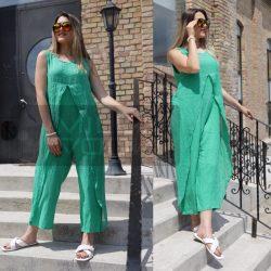 Adriana 100% Len ujjatlan overál-benetton zöld