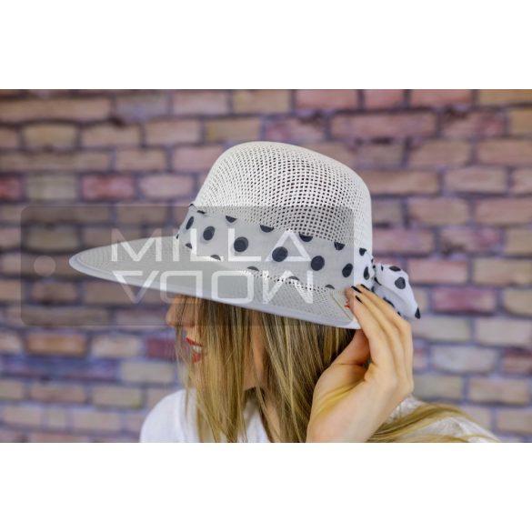 Katalin nyári kalap mintás szalaggal-fehér