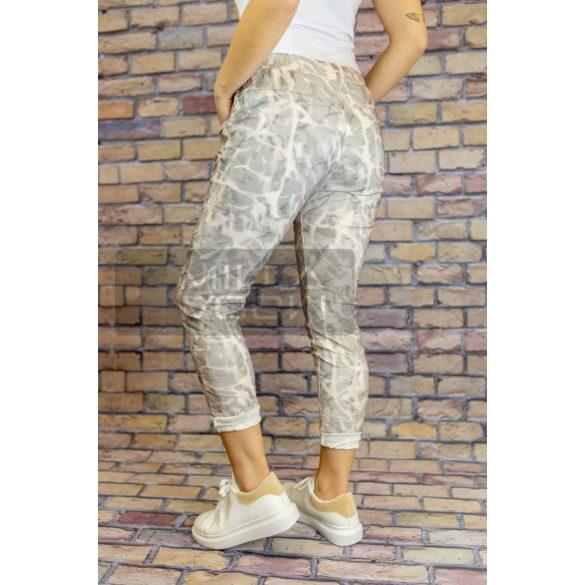 Eliza batikolt mintás gumis derekú elasztikus nadrág-bézs