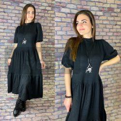 Afrodita kötött, garbós nyakú, rövid buggyos ujjú, alul fodros hosszú ruha-fekete