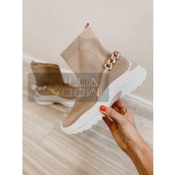 Journey láncos elasztikus vászon cipő-bézs