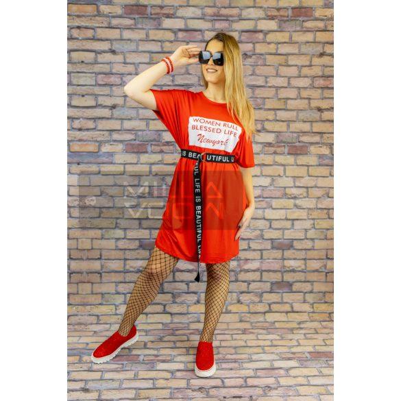 Women Rull aszimmetrikus öves ruha-piros/fehér