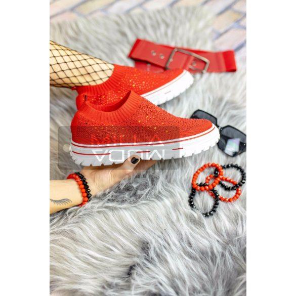 Rhinestones vastag talpú strasszköves vászon cipő-piros