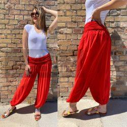 Ankara gumis derekú vékony viszkóz laza nadrág-piros