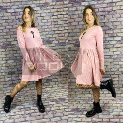 Classic Air fodros aljú pamut ruha-rózsaszín