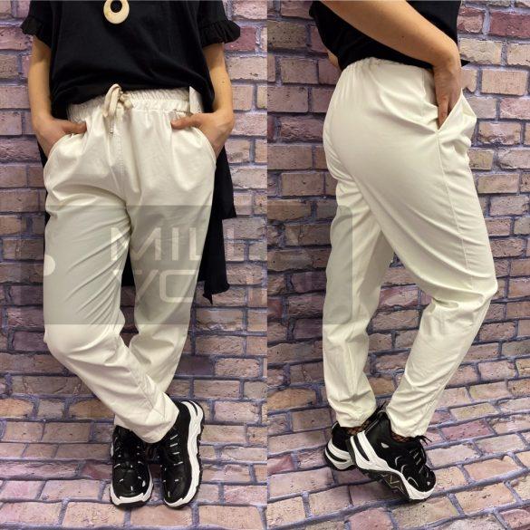 Moon gumis derekú bőrhatású nadrág-fehér
