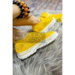 Rhinestones vastag talpú strasszköves vászon cipő-sárga