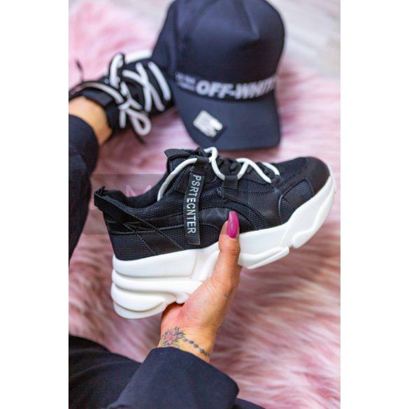 Larrikin vastag talpú dupla fűzős cipő-fekete/fehér