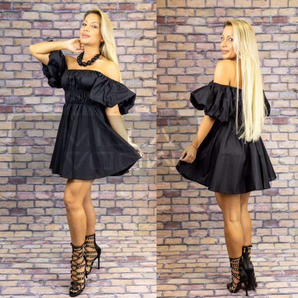 Julia gumis tetejű puffos ujjú vászon ruha-fekete