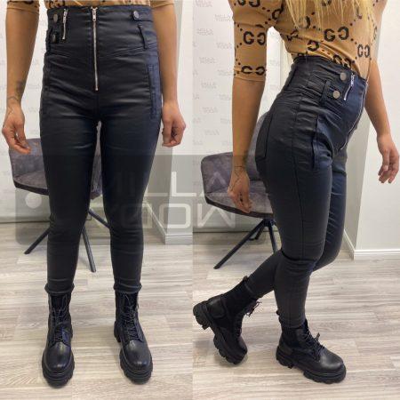 Night Dream magasderekú bőrhatású nadrág-fekete