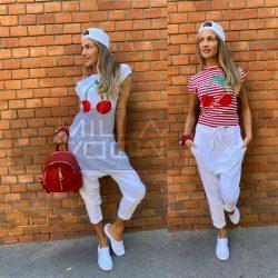 Harlem ülepes pamut nadrág-fehér