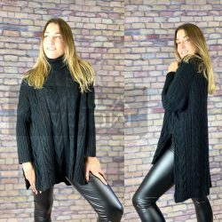 Csilla garbós, hátul hosszított, kötött pulóver-Fekete