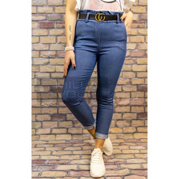 Rami gumis derekú elasztikus nadrág övvel-kék