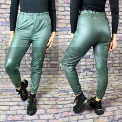 Luna bőrhatású Gumis derekú, bélelt nadrág-zöld