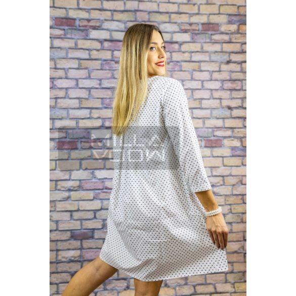 Wendy Trendy Pöttyös zsebes vászon ruha-fehér