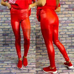 G&B magas derekú elasztikus fényes leggings-piros