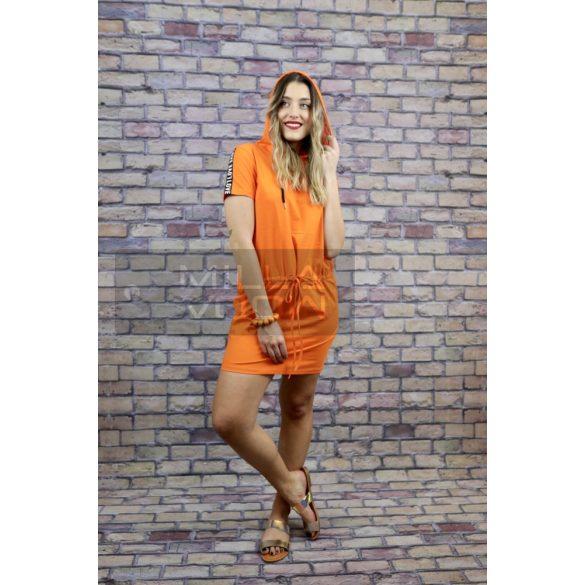 Free Time kapucnis kötős ruha-narancs