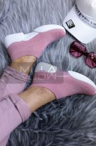 Zsanett elasztikus vászon vastag talpú cipő-mályva