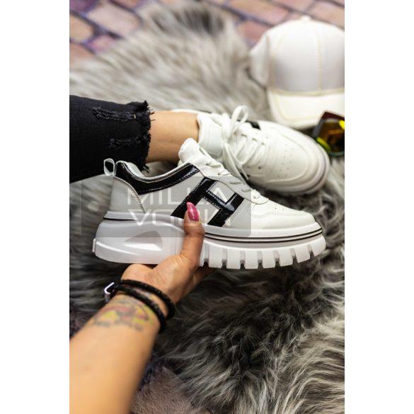Dolly vastag talpú lakk betétes cipő-fehér