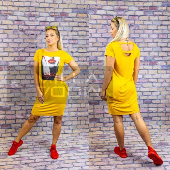 Style hátán kivágott lenge ruha-sárga