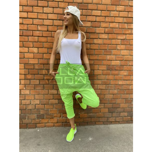 Harlem ülepes pamut nadrág-neonsárga