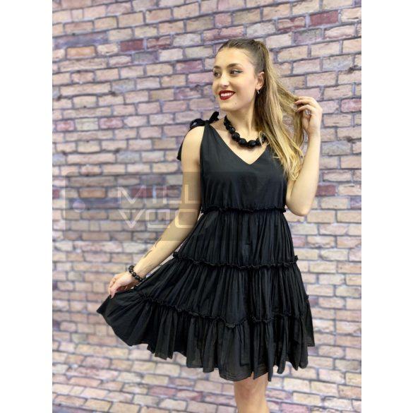 Kitty fodros aljú vászon ruha-fekete