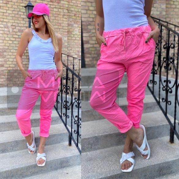 Neon Light gumis derekú elszatikus nadrág-neon pink